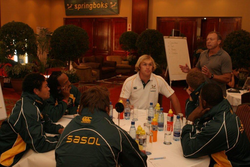 Motivational Speaker Dr Steve Harris Talking To The Springboks