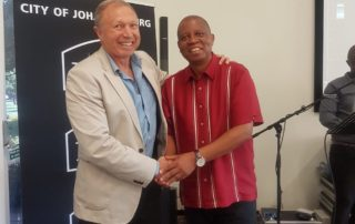 motivational speaker dr steve harris and the Mayor of the city of Johannesburg - Herman Mashaba